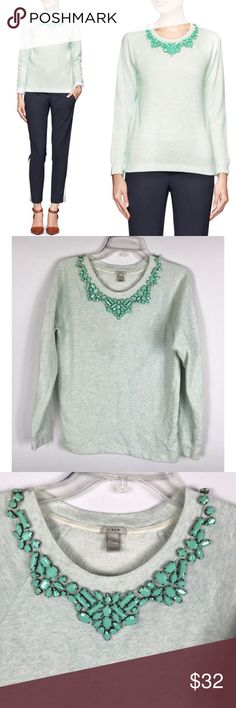 "{J Crew} Mint Beaded Bib Necklace Sweatshirt Excellent Pre-loved Condition! (No missing) beads  J Crew Bib Necklace Sweatshirt Womens Green Blue Pullover Beaded  Size: Women's XS Measured laying down flat: 23"" long, 16.5"" across bust (armpit-to-armpit), 23"" long sleeves Material: 87% Cotton 13% Polyester Description: Pullover style, stretchy material, long sleeves, classic neckline with matching turquoise Beads, style 07590  Comes from a Smoke Free Home 1823 J. Crew Tops Sweatshirts…"