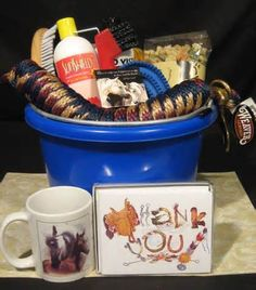 Gift basket for the horse lover, brilliant idea for any horsey person, especially if you can chose what goes in to it.