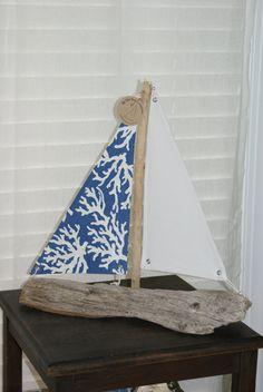 Blue Coral driftwood sailboat