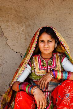 India   Portrait of a woman from the Marwada Meghwal Harijan tribe wearing traditional clothing in the village of Bhirendiara, located roughly 50km from Bhuj in the Kutch District    © Kimberley Coole