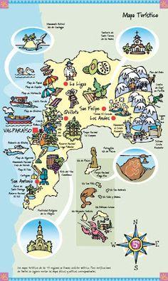 muchos dibujos!!!: Ilustraciones Chile Turístico San Antonio Chile, Visit Chile, Dream Vacations, South America, Places To Visit, Activities, Education, Comics, Illustration
