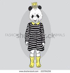 fashion illustration of cute panda girl kid - stock vector