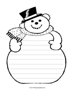 Snowman Writing Template Writing Template, free to download and print
