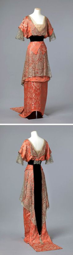 Evening gown ca. 1913-14. Silk with silver thread, machine lace, glass beads, and tulle. Photo: Frode Larsen. Norwegian National Museum of Art, Architecture and Design