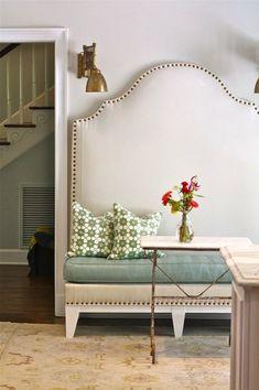 Suzie: Nest Egg - Gorgeous DIY padded camel back bench with French brass tacks, blue cushion, ...