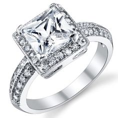 2 Carat Princess Cut CZ Sterling Silver Wedding Engagement Ring $19.99 available at joyfulcrown.com