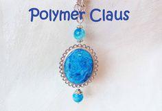 Ciondolo con liquid clay, colori ad olio e pigmenti (polymer clay tutorial)