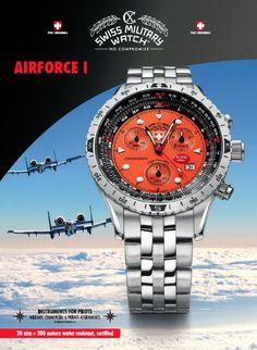 NEW CX Swiss Military Watch AIRFORCE 1, orange on Jewelcology
