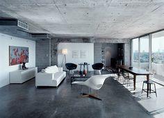 Concrete Floors and concrete ceiling.