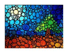 Abstract Art Print Sky Sun Moon Tree Brown Green Mosaic GICLEE Abstract Wall ART PAINTING Modern Landscape