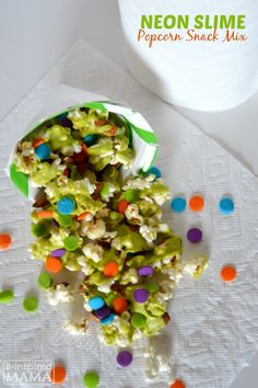 Neon Slime Popcorn for Kids' Choice Awards or April Fools