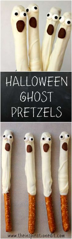 Halloween Pretzels Recipe Need some Funky Halloween Ideas? Why not check out this Halloween Ghost Pretzel Fun party food idea.Need some Funky Halloween Ideas? Why not check out this Halloween Ghost Pretzel Fun party food idea. Halloween Desserts, Halloween Food For Party, First Halloween, Spooky Halloween, Holidays Halloween, Halloween Treats, Happy Halloween, Halloween Decorations, Halloween Stuff