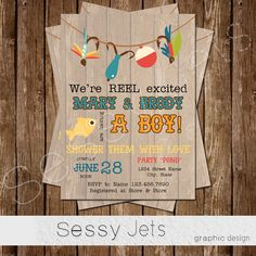 We're REEL excited Baby Shower Invitation Fishing by sessyjets