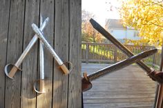Cardboard Swords - http://www.pbs.org/parents/crafts-for-kids/cardboard-swords/ *Cute for a pirates birthday just add some pink or blue for the handles instead of brown.