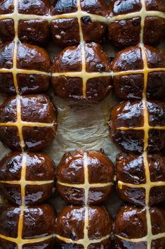 Chocolate orange hot cross buns - a delectable chocolatey twist on the classic Easter bread. Perfect for breakfast or a snack.