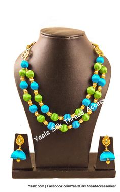Yaalz Silk Thread 2 Layer Neckset With Jhumka Earrings In Light Blue & Light Green Colors Silk Thread Bangles Design, Silk Thread Necklace, Thread Jewellery, Beaded Necklace, Necklaces, Jewelry, Green Silk, Diy Accessories, Quilling