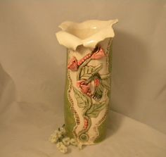 Vase with Hummingbird in the Flowers by joycepottery on Etsy, $175.00