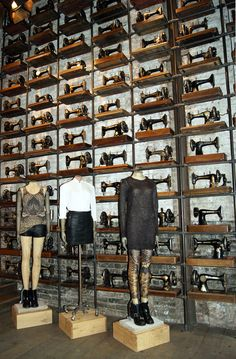 A decent collection of sewing machines for the display window, at the New York Soho Store. All Saints Spitalfields
