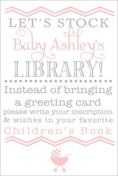 Baby Shower Book instead of Card in pink and by PureDesignAtlanta, $5.00