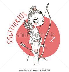 Zodiac signs Sagittarius. Vector illustration of the girl.