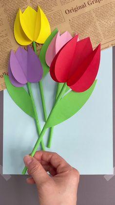 Flower Crafts Kids, Paper Flowers Craft, Spring Crafts For Kids, Mothers Day Crafts For Kids, Paper Crafts Origami, Paper Crafts For Kids, Toddler Crafts, Preschool Crafts, Simple Paper Crafts
