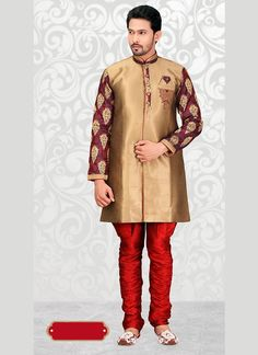 Make an everlasting impact clad with this Beige Jacquard Men's Indo Western. All patterns are intricately embellished with Lace, Patch Work & Beads work. Sherwani Groom, Mens Sherwani, Wedding Sherwani, Tarun Tahiliani, Royal Look, Beige Color, Wedding Men, Westerns, High Neck Dress