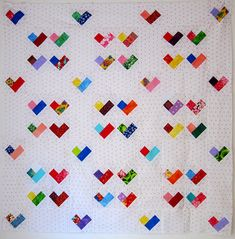 "Scrappy Four Patch Heart Quilt - Free Quilt Pattern | Flickr - Photo Sharing! She uses 2"" squares, could easily do 2 1/2 inch"