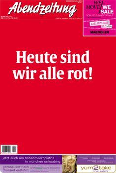 Ganz in Rot und Weiß: So sieht die Titelseite der Abendzeitung am Tag des Champions League-Finales aus. http://www.abendzeitung-muenchen.de/inhalt.finale-dahoam-der-az-liveticker-am-tag-der-entscheidung.76b71d18-8ff4-40d6-af10-9d0aae00e619.html #fotbal #bayern