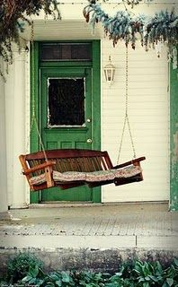 front porch swing & AWESOME green door
