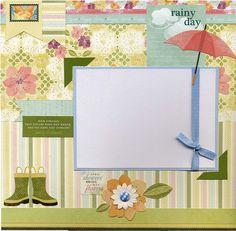 Rainy Day  Premade Scrapbook Page by SusansScrapbookShack on Etsy