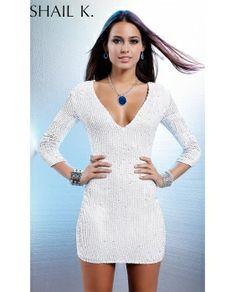 Short v-neck sequin dress by Scala. Cheap Short V-Neck Sequin Dress with Sleeves