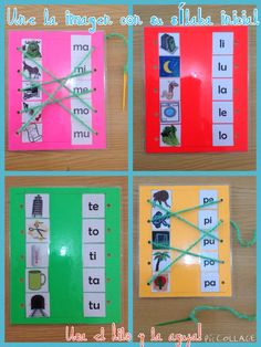 Relacionar imagen con sílaba inicial. Letter Activities, Reading Activities, Classroom Activities, Kids Education, Special Education, Learning Arabic, Kids Learning, Material Didático, Teaching Grammar