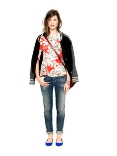 Floral shirt, loose fitting straight jeans via Madewell.