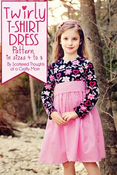 Make this Twirly T-Shirt Dress for your little one! Tutorial with a free printable pdf pattern. (Girls sizes 4 to 8.)