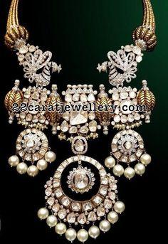Large Flat Diamonds Victorian Necklace