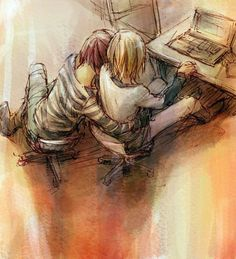Matt x Mello (Death Note) happy deathday to my bbys mihael keehl and mail jeevas ;(