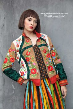 Batik Amarillis's Girl Meets Boy 2 ❤️ such a gorgeous jacket which full of beautiful complexities such as the patch work of batik/tenun gedog , embroidery and smocking available soon to order at Batik Amarillis webstore www.batikamarillis-shop.com #fashionphotography#fashioneditorial#batikindonesia#madeinindonesia#embroidery