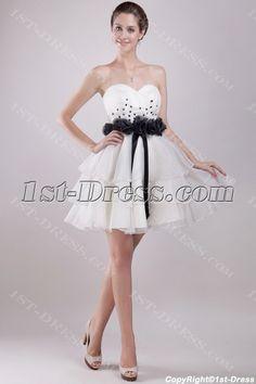 Ivory and Black Short Sweet 16 Dresses Cheap:1st-dress.com