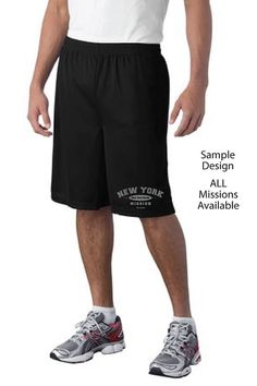 "Athletic Mesh Shorts-9"" inseam with mission name. Short colors: Navy, Black. Ink colors: Gray, White"
