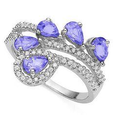 Jewelryroom.com - (See Video Inside)MESMERIZING 1.29 CARAT TW (60 PCS) GENUINE DIAMOND GENUINE TANZANITE 0.925 STERLING SILVER W/ PLATINUM RING - Item #: 130966