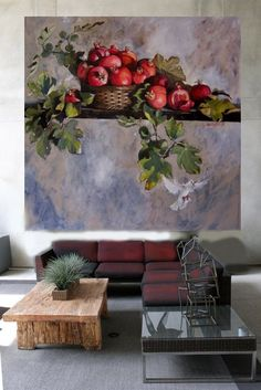 Diana Watson art work 'Vivace' - I love pieces of art work that take up almost the entire wall. Fruit Painting, Oil Painting Flowers, Watercolor Paintings, Pomegranate Art, Fruit Art, Painting Inspiration, Flower Art, Amazing Art, Art Pieces
