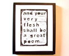 LINOCUT PRINT - And your very flesh... BLACK letterpress poster Walt Whitman