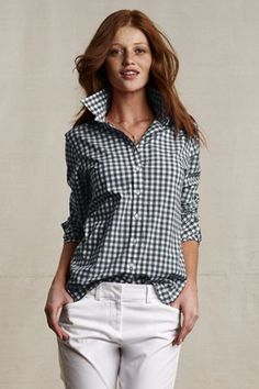 Lands End Canvas -- Navy Gingham Shirt for fall. $44.50