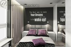 Projekt sypialni Inventive Interiors - szarość biel, beż i fioletowe dodatki w sypialni