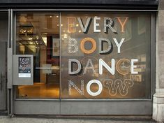 "{""Everybody Dance Now: 20 Years of Dancing in Print"" exhibition at the AIGA National Design Center in New York, designed by Abbott Miller at Pentagram NY. On the window most of the styles of History font.}"