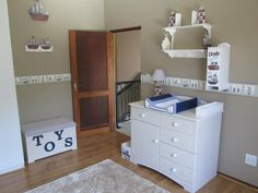 Nautical nursery - vintage style complimented with white washed furniture for that real beach atmosphere.