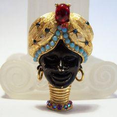 Vintage Blackamoor Figural Pin Rhinestone by GretelsTreasures
