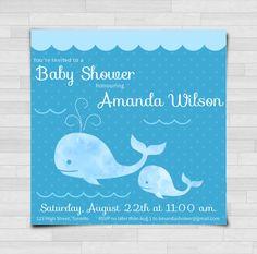 DIGITAL - Baby Shower Invitation - Blue Whales