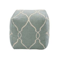 Slate blue wool pouf with a trellis motif in parchment. Hand-woven in India. Product: Pouf Construction Material: WoolColor: Spa blue Features: Handmade in India Dimensions: H x W x D Cleaning and Care: Blot stains with damp cloth Home Living, My Living Room, Living Room Furniture, Apartment Living, Coastal Living, Apartment Ideas, Lane Furniture, York Apartment, Southern Living