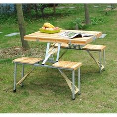 Outsunny 4 Person Wooden Portable Picnic Table Set with Umbrella #ad Portable Picnic Table, Kids Picnic Table, Folding Picnic Table, Camping Table, Table With Bench Seat, Wicker Side Table, Wooden Side Table, Porch Table, Patio Tables
